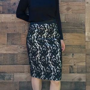 Ann Taylor black lace midi skirt